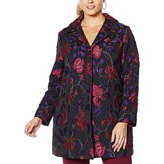 """""""As Is"""" Slinky® Brand Long-Sleeve Floral Jacquard Duster Jacket"""