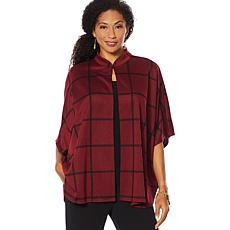 """""""As Is"""" Slinky® Brand Open-Front Cape Jacket with Stand Collar"""