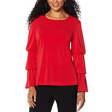 """As Is"" Slinky® Brand Tiered Puff-Sleeve Crepe Tunic"