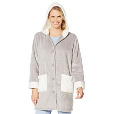 """As Is"" Soft & Cozy Hooded Button Front Robe with Pockets"