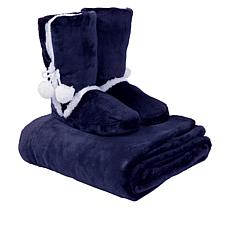 """As Is"" Soft & Cozy Plush Throw and Booties Gift Set"
