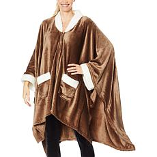 """As Is"" Soft & Cozy Sherpa-Trimmed Angel Wrap"