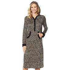 """""""As Is"""" Soft & Cozy Ultra Knit Hooded Henley Lounge Dress"""