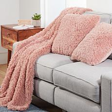 """As Is"" South Street Loft 3-piece Poodle Fur Throw & Pillow Set"