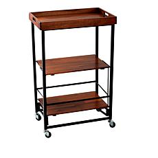 """As Is"" StoreSmith Acacia Wood Folding Entertaining Cart"