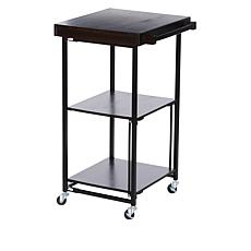 """""""As Is"""" StoreSmith Acacia Wood Folding Kitchen Cart with Wheels"""
