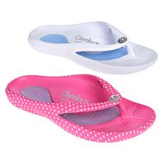"""As Is"" Tony Little Cheeks® 2-pack Toe-Post Health Sandal"