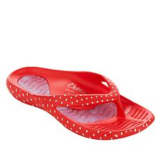 """As Is"" Tony Little Cheeks® Printed Health Sandal with Gel Footbed"