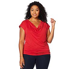 """""""As Is"""" Vanessa Williams Comfort Zone Knit Front Drape Top"""