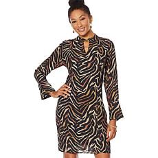 """As Is"" Vanessa Williams Keyhole-Neckline Printed Dress"