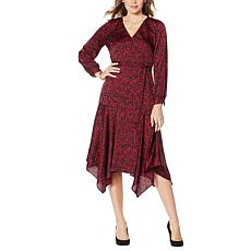 """As Is"" Vince Camuto Drifting Petals Hammered Satin Wrap Dress"