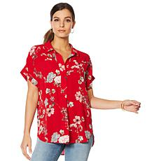 """As Is"" Vince Camuto Oasis Bloom Popover Blouse"