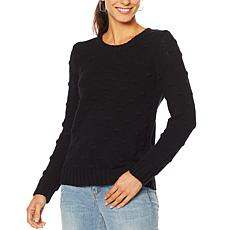 """As Is"" Vince Camuto Popcorn Knit Crew Neck Sweater"