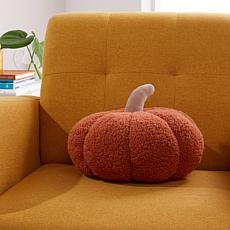 """""""As Is"""" Warm & Cozy Faux Sherpa Pumpkin Pillow"""