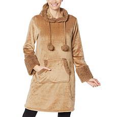 """As Is"" Warm & Cozy Hooded Comfort Tunic Robe with Kangaroo Pocket"