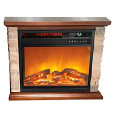 """As Is"" Warm Living Rustic Infrared Fireplace Heater"
