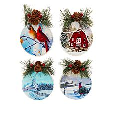 """As Is"" Wind and Weather Set of 4 Metal Mini Bottle Cap Ornaments"