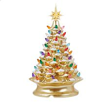 """As Is"" Winter Lane 14"" LED Lighted Ceramic Musical Christmas Tree"