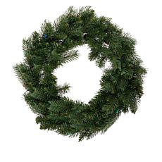 """As Is"" Winter Lane 24"" Indoor/Outdoor Wreath with Remote and 30 LE..."