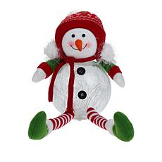 """As Is"" Winter Lane Glass LED Sitting Snowman with Timer"