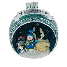 """As Is"" Winter Lane Large Resin LED Ornament with Holiday Scene"