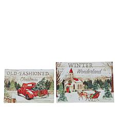 """As Is"" Winter Lane Set of 2 Merry Christmas Fiber-Optic Canvas Set"