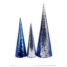 """""""As Is"""" Winter Lane Set of 3 Sequin Trees"""