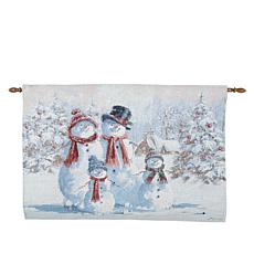 """As Is"" Winter Lane Snowman Family Fiber-Optic Holiday Tapestry"