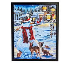 """As Is"" Winter Lane Snowman Fiber-Optic Christmas Canvas Art"