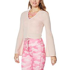 """""""As Is"""" WVVY Cinched Tie-Front Bell-Sleeve Top"""