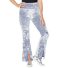 """As Is"" WVVY Velour Slit Flare-Leg Pull-On Pant"