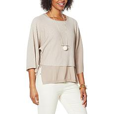 """""""As Is"""" WynneLayers 2-Tone Ribbed Knit Cropped Popover Sweater"""