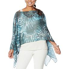"""As Is"" WynneLayers Convertible Leaf Print Chiffon Poncho"