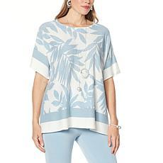 """As Is"" WynneLayers Intarsia Sweater Knit Poncho"