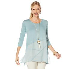 """""""As Is"""" WynneLayers Lightweight Mixed Media Tee with Seaming"""