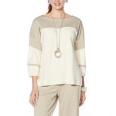 """""""As Is"""" WynneLayers Luxe Knit Colorblocked Boxy Top"""