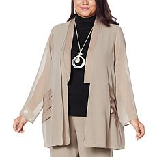 """""""As Is"""" WynneLayers Mixed Media Jacket with Grosgrain Trim"""