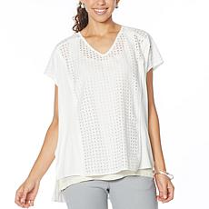 """""""As Is"""" WynneLayers Mixed Media V-Neck Boxy Top"""