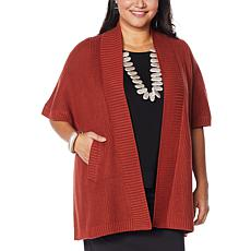 """""""As Is"""" WynneLayers Open Front Ribbed Sweater Knit Poncho"""