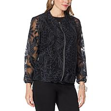 """""""As Is"""" WynneLayers Organza Burnout Bomber Jacket"""
