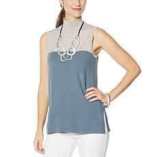 """""""As Is"""" WynneLayers Soft Knit Sleeveless Colorblock Tunic"""