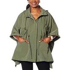 """""""As Is"""" WynneLayers Spring Poncho Jacket with Hood"""