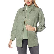 """""""As Is"""" WynneLayers Stretch Faux Suede Shirt Jacket"""