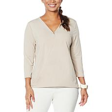 """As Is"" WynneLayers Twist Front Surplice Knit Top"