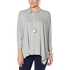 """As Is"" WynneLayers Unstructured Button Front Shirt"