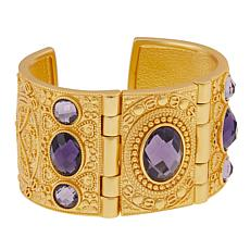 Asa Jewelry Purple Stone Goldtone Hinged Cuff Bracelet