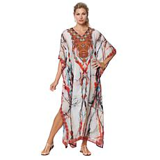 Asa Kaftans White and Red Print Sheer Long Caftan
