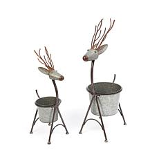 Assorted Set of 2  Galvanized Metal Nesting Deer Figure Containers