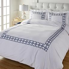 august & leo Embroidered Frame 3-piece Duvet Cover Set
