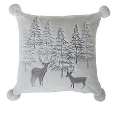 august & leo Faux Fur Embroidered Reversible Pom Pom Pillow